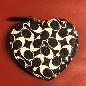 Coach signature heart shaped coin case